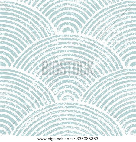 Seigaiha Wave Seamless Pattern. Blue And White Japanese Print. Grunge Texture. Vintage Striped Backg