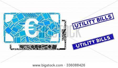 Mosaic Euro Bills Pictogram And Rectangle Utility Bills Rubber Prints. Flat Vector Euro Bills Mosaic