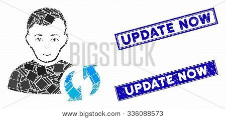 Mosaic User Update Icon And Rectangular Update Now Stamps. Flat Vector User Update Mosaic Icon Of Sc