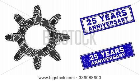 Mosaic Pinion Pictogram And Rectangular 25 Years Anniversary Seal Stamps. Flat Vector Pinion Mosaic