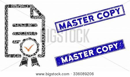 Mosaic Certified Icon And Rectangular Master Copy Seals. Flat Vector Certified Mosaic Icon Of Random
