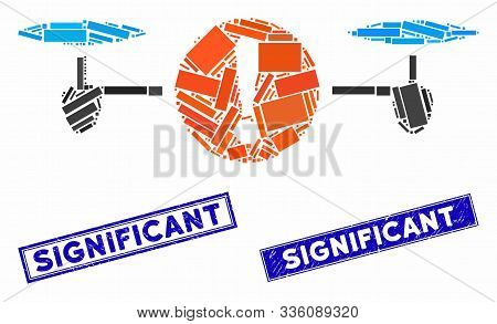Mosaic Quadcopter Problem Icon And Rectangular Significant Stamps. Flat Vector Quadcopter Problem Mo