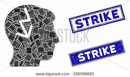 Mosaic Brain Electric Strike Pictogram And Rectangular Strike Seal Stamps. Flat Vector Brain Electri
