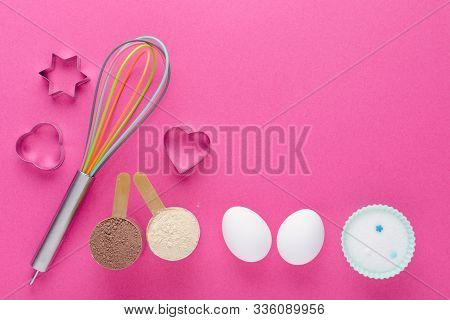 Fitness Diet Concept, Baking Protein, Sugar Substitute Erythritol Or Xylitol And Eggs For Dessert Ma