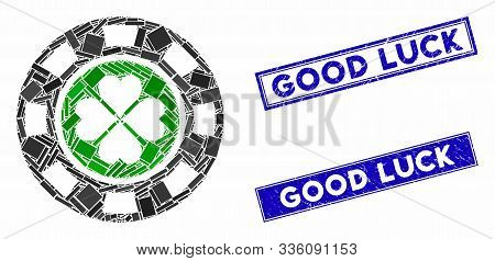 Mosaic Luck Casino Chip Icon And Rectangular Good Luck Watermarks. Flat Vector Luck Casino Chip Mosa
