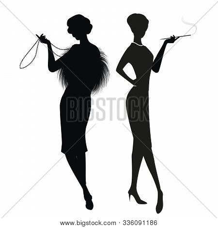 Silhouettes Of Two Women In The Retro Style Of The 50s Or 60s Isolated On White Background