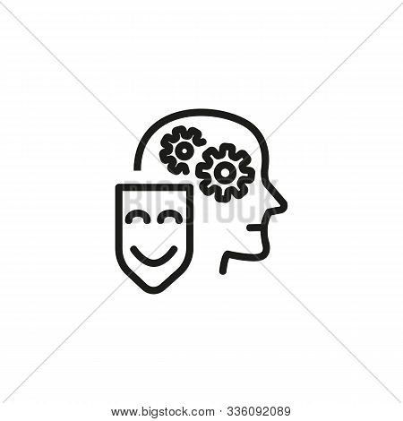 Attitude Thin Line Icon. Brainwork, Gears In Head, Mask, Sincerity Isolated Outline Sign. Psychology