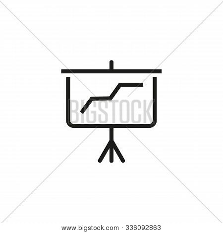 Increase Chart Thin Line Icon. Diagram, Presentation, Flipchart, Board Isolated Outline Sign. Increa