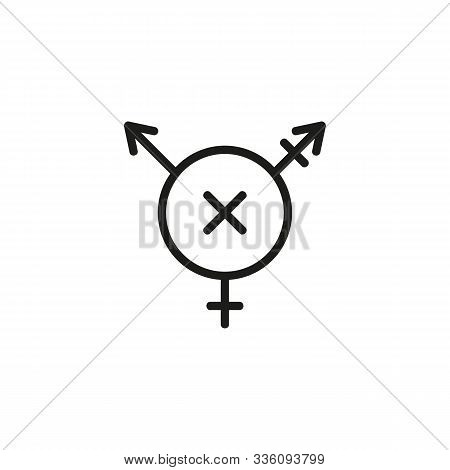 Transphobia Thin Line Icon. Transgender, Transsexual Symbol, Prohibition Isolated Outline Sign. Disc
