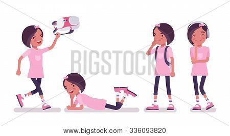 School Girl Enjoying Free Time. Cute Small Lady In Pink Tshirt With Rucksack After Lessons, Active Y