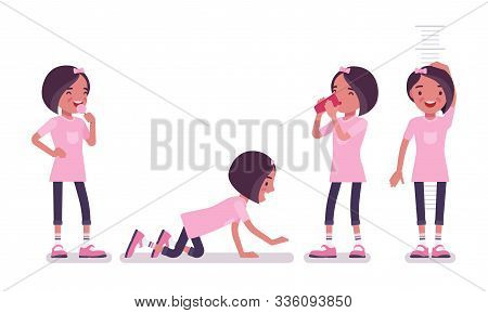School Girl In Casual Wear Enjoying Fun. Cute Small Lady In A Pink Tshirt After Lessons, Active Youn