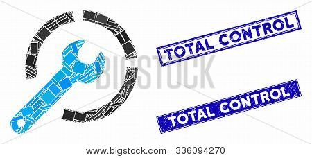 Mosaic Configure Spanner Icon And Rectangle Total Control Watermarks. Flat Vector Configure Spanner