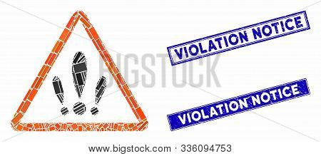 Mosaic Multiple Problems Pictogram And Rectangular Violation Notice Stamps. Flat Vector Multiple Pro