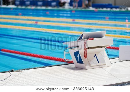 Sport Facility. Swimming Pool Starting Block No.1. Sport And Swimming Concept. Water Sports