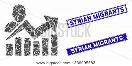 Mosaic User Chart Icon And Rectangle Syrian Migrants Seals. Flat Vector User Chart Mosaic Icon Of Sc