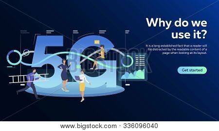 Workgroup Using 5g Network. Communication, Internet, Support Service Flat Vector Illustration. Techn