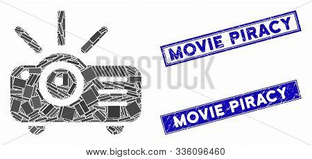 Mosaic Projector Pictogram And Rectangle Movie Piracy Seals. Flat Vector Projector Mosaic Pictogram