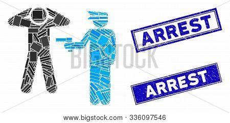 Mosaic Arrest Pictogram And Rectangle Arrest Seal Stamps. Flat Vector Arrest Mosaic Pictogram Of Ran
