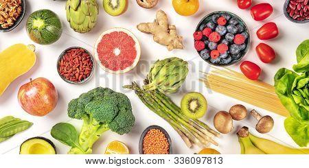 Vegan Food Panorama. Healthy Diet Concept. Fruits, Vegetables, Pasta, Nuts, Legumes, Mushrooms, Over