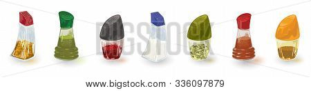 Assortment, Variety Of Red, Green, Yellow Spices Is In Glass Shakers, Tins, Pepper Casters In Line S