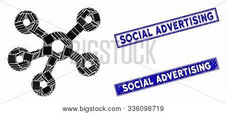 Mosaic Hub Links Pictogram And Rectangular Social Advertising Seals. Flat Vector Hub Links Mosaic Pi
