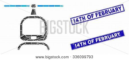 Mosaic Helicopter Icon And Rectangle 14th Of February Seals. Flat Vector Helicopter Mosaic Icon Of R