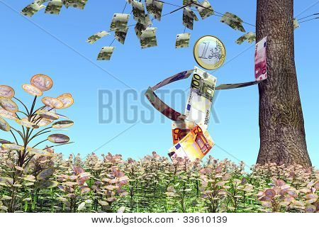 Euro Man Leaning Against A Tree