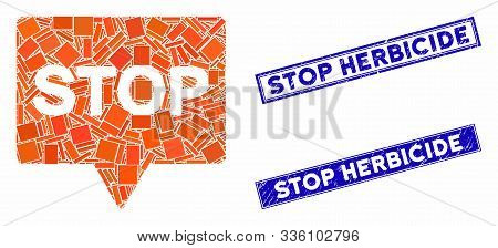 Mosaic Stop Banner Icon And Rectangle Stop Herbicide Seal Stamps. Flat Vector Stop Banner Mosaic Ico