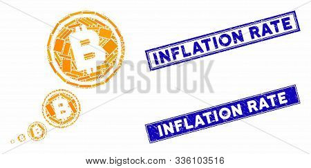 Mosaic Bitcoin Inflation Pictogram And Rectangular Inflation Rate Watermarks. Flat Vector Bitcoin In