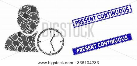 Mosaic User Temporary Clock Pictogram And Rectangle Present Continuous Rubber Prints. Flat Vector Us