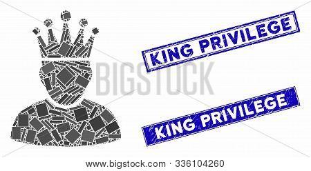 Mosaic King Pictogram And Rectangle King Privilege Stamps. Flat Vector King Mosaic Pictogram Of Rand