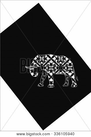Indian Ornament Elephant And Paisley - Hand Drawing In Black Ink Vector Illustration