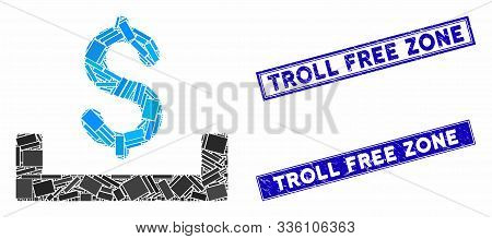 Mosaic deposit placement pictogram and rectangle Troll Free Zone rubber prints. Flat vector deposit placement mosaic pictogram of scattered rotated rectangle items. poster