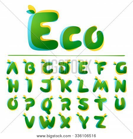 Ecology Alphabet. Overlapping Gradient Font With Green Leaves. Vector Green Template Can Be Used For