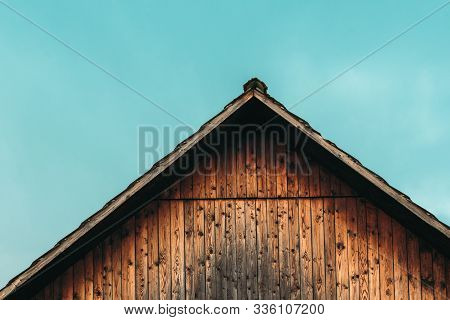 Gable Shed Roof And Blue Sky As Copy Space, Abstract Composition