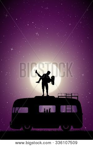 Guy Carry Girl On Roof Of Retro Car On Moonlit Night. Vector Illustration With Silhouette Of Happy L