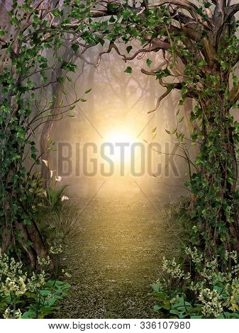 Path Through Enchanting Fairytale Deep Forest View With Beautiful Heavenly Sunset, 3d Render