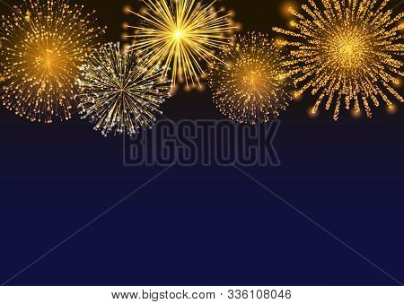Firework Sparkling With Lights, Fireworks On Night Or Evening Sky. Explosion For Festival, Festive M