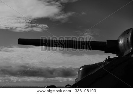 M 4 Sherman Tank Turret And Gun Pointing Towards The Sky Near Westkapelle, Zeeland, The Netherlands,