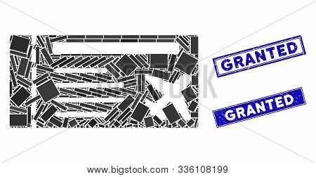 Mosaic Airticket Icon And Rectangular Granted Seals. Flat Vector Airticket Mosaic Icon Of Randomized