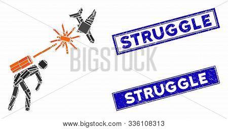 Mosaic Terrorist Strikes Aircraft Pictogram And Rectangle Struggle Seal Stamps. Flat Vector Terroris
