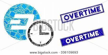 Mosaic Dash Credit Counter Icon And Rectangular Overtime Seal Stamps. Flat Vector Dash Credit Counte