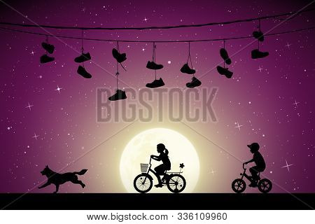 Children On Bicycles And Running Dog Under Shoes On Wires On Moonlit Night. Vector Illustration With