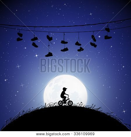 Little Boy On Bicycle On Moonlit Night. Vector Illustration With Silhouette Of Lonely Bicyclist On B