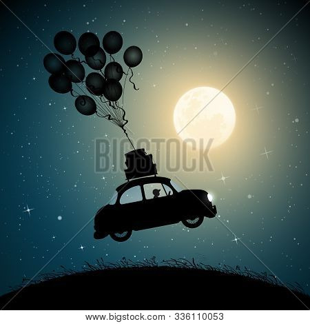 Retro Car Flies On Balloons On Moonlit Night. Funny Vector Illustration With Silhouette Of Boy In Fl