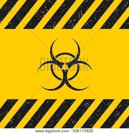 Grunge Poster Biohazard. Vector Biohazard Sign On Yellw Background. Vector.