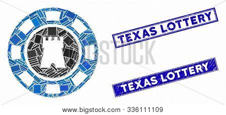 Mosaic Bulwark Casino Chip Icon And Rectangle Texas Lottery Rubber Prints. Flat Vector Bulwark Casin