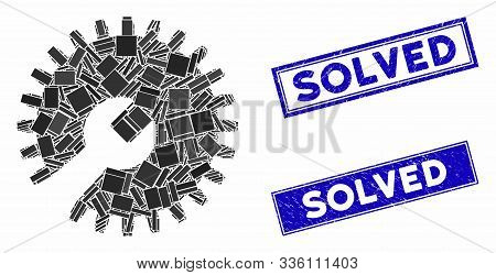 Mosaic Gear Tools Pictogram And Rectangular Solved Rubber Prints. Flat Vector Gear Tools Mosaic Pict