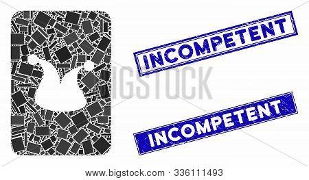 Mosaic Joker Gambling Card Pictogram And Rectangle Incompetent Rubber Prints. Flat Vector Joker Gamb