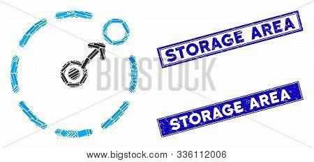 Mosaic Circular Area Border Pictogram And Rectangle Storage Area Seal Stamps. Flat Vector Circular A